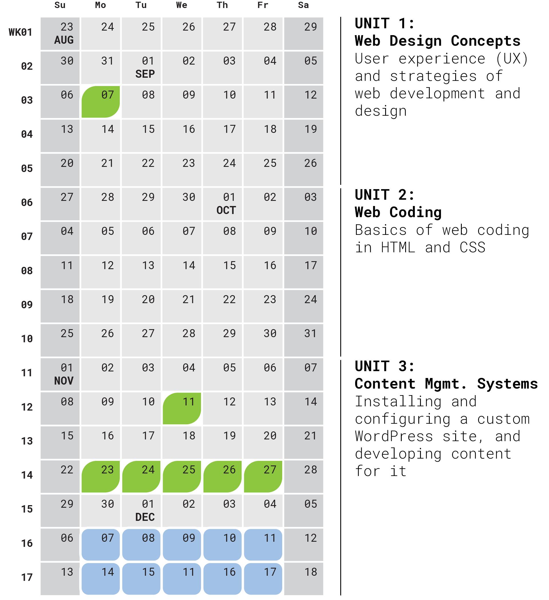 Fall 2020 calendar grid