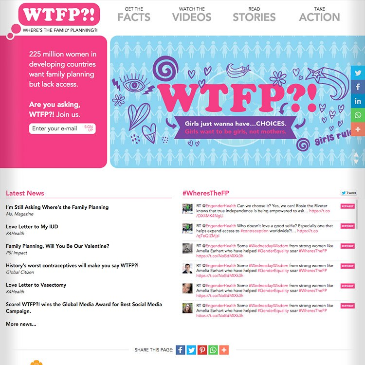 <b>Web site</b>, campaign home page