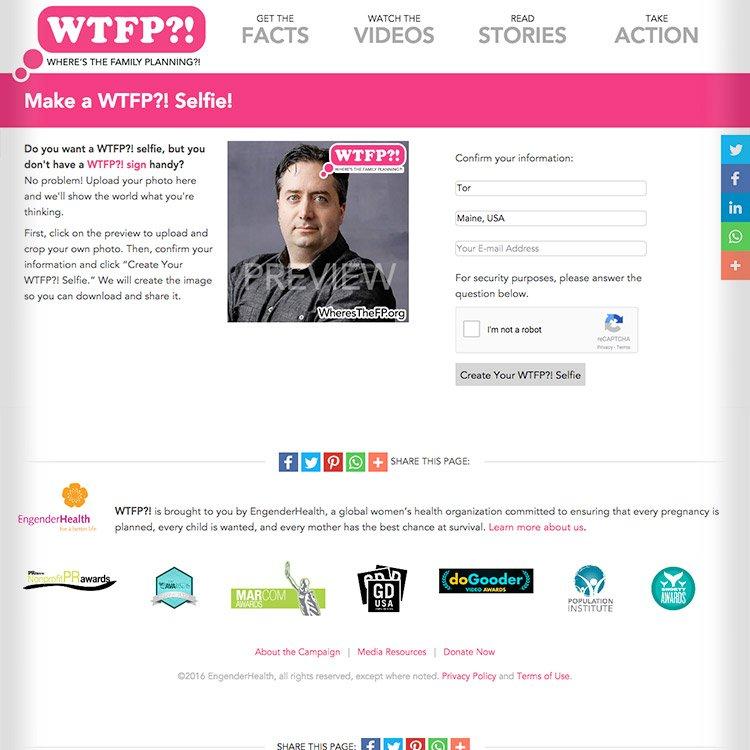 <b>Web site</b>, interactive selfie tool