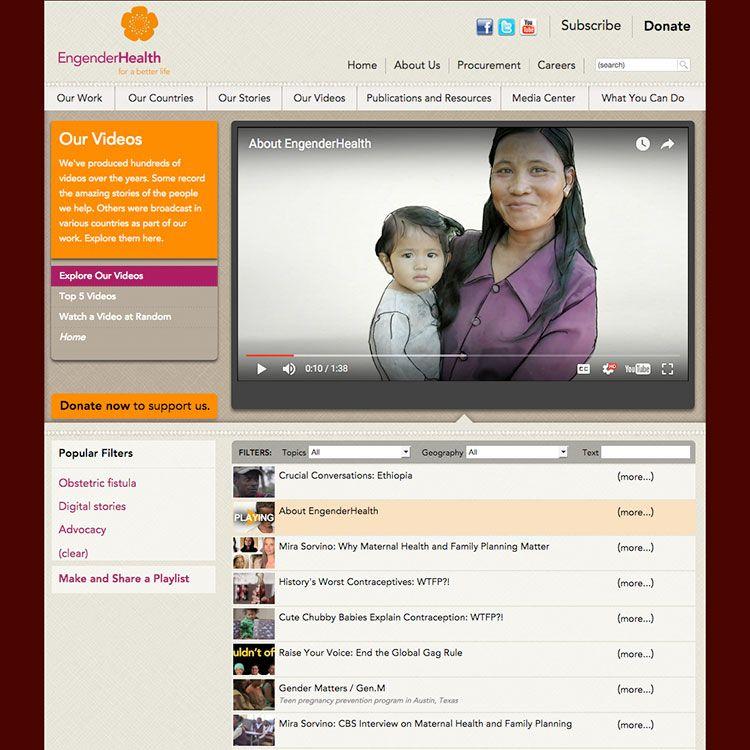 <b>Web site</b>, video library