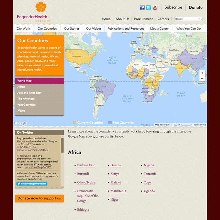 <b>Web site</b>, countries page with integrated Google Maps