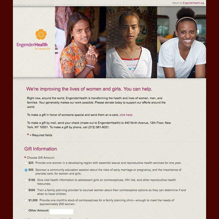 <b>Web site</b>, donation page